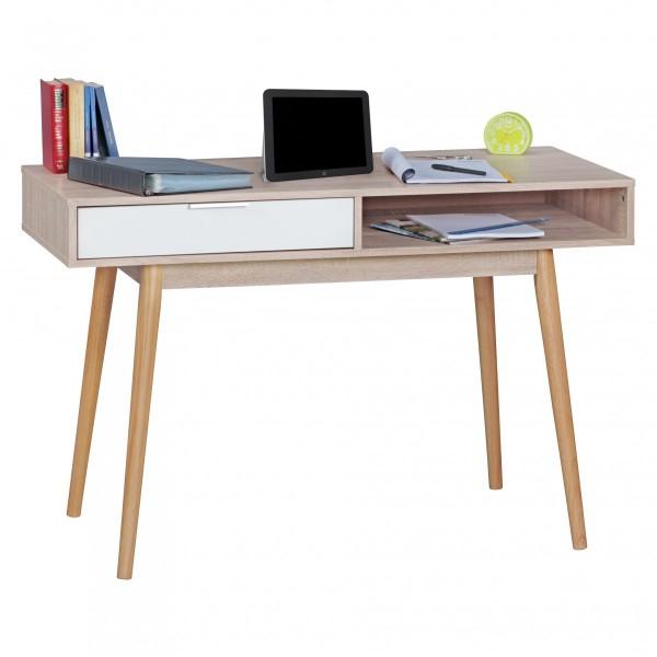 Stilvoller Schreibtisch / Bürotisch, Sonoma Eiche / weiß, mit Schublade und Ablagefach