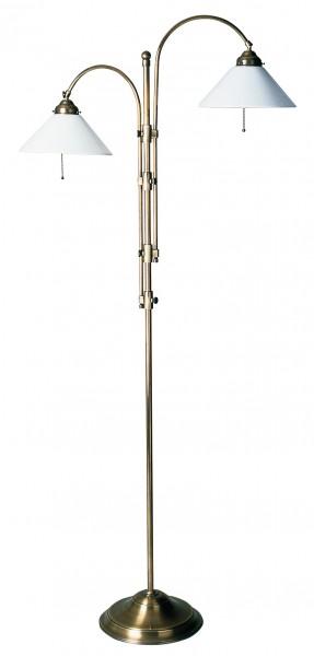 Stehleuchte / Standleuchte mit 2 Leuchten, Landhaus Stil, Messing antik-handpatiniert (Altmessing), Höhe 152 cm bis 175 cm einstellbar, 230 V, 2 x E27 60 W