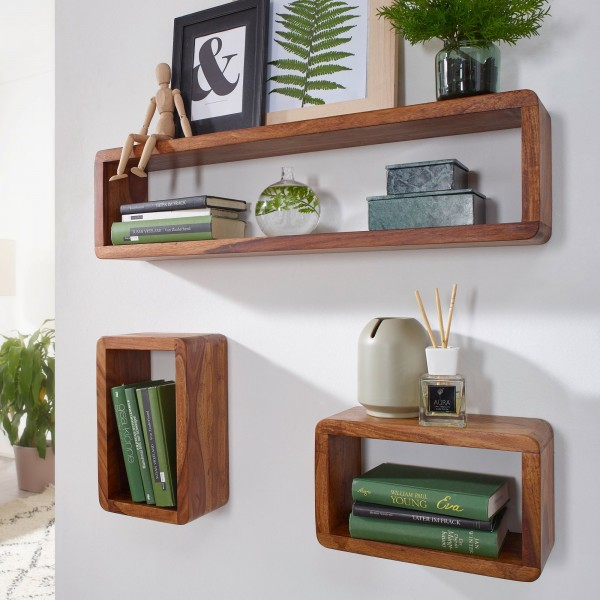 Design Wandregal 3er Set, Massiv Holzregale Sheesham Landhausstil, Rustikales Wandregal-Set aus Holz, Hängende Würfel