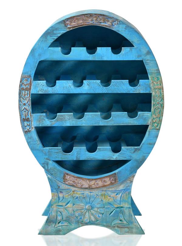 """Weinregal, """"Washed Look"""", Altholz, blau, B60 x T31 x H95 cm"""