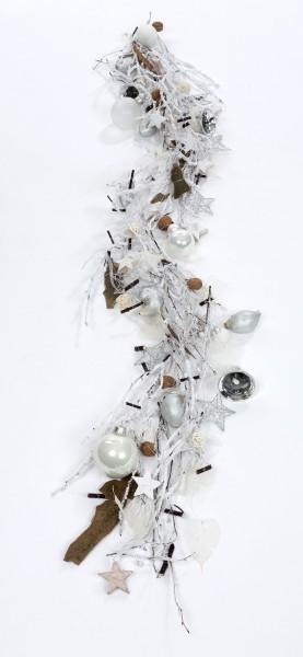 """Zauberhafte Weihnachtsgirlande """"Väterchen Frost"""", ca. 170 cm lang, Handwerksarbeit, Tischdeko und Wandgirlande, Grundfarbe weiß, Unikat"""