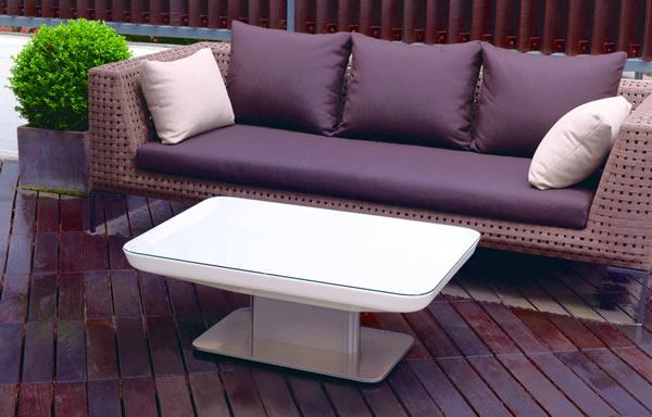 Moree Lounge Tisch Studio Outdoor, beleuchtet, B 70 cm, L 100 cm, H 45 cm, mit Glasplatte, ABS glänzend, weiß transzulent, Edelstahl gebürstet, mit S14d Leuchtmittel, für Außen
