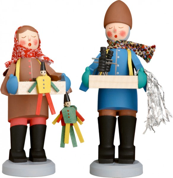 Original Striezelkinder / Holzfiguren, 2-teiliges Set, bunt, Höhe 15 cm