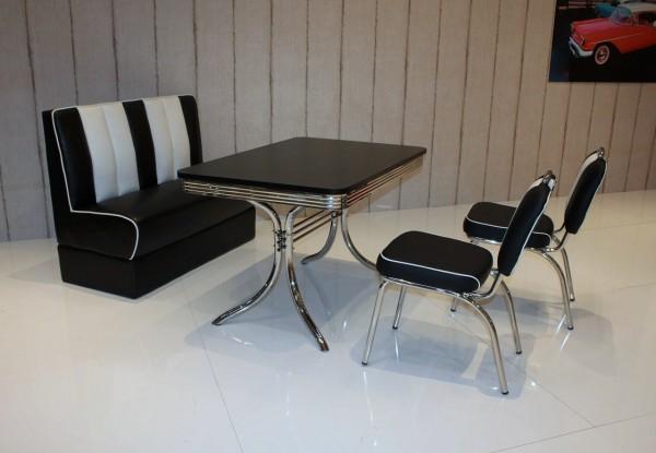 """Bankgruppe """"Sacramento"""", American Diner Style; Vierfuß Bistrotisch, 2 Bistrostühle und 1 Bistropolsterbank; Bezug: schwarz/weiß; Tischplatte schwarz"""