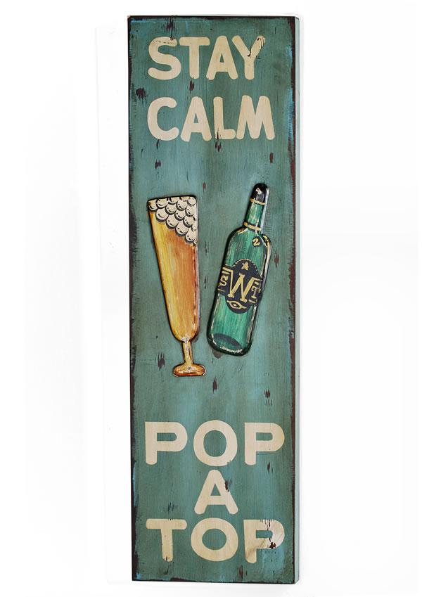 "Wand-/Dekoschild / Wall Art ""Stay Calm"", aus MDF, im Vintage-Look, B30 x H100 x T4 cm"