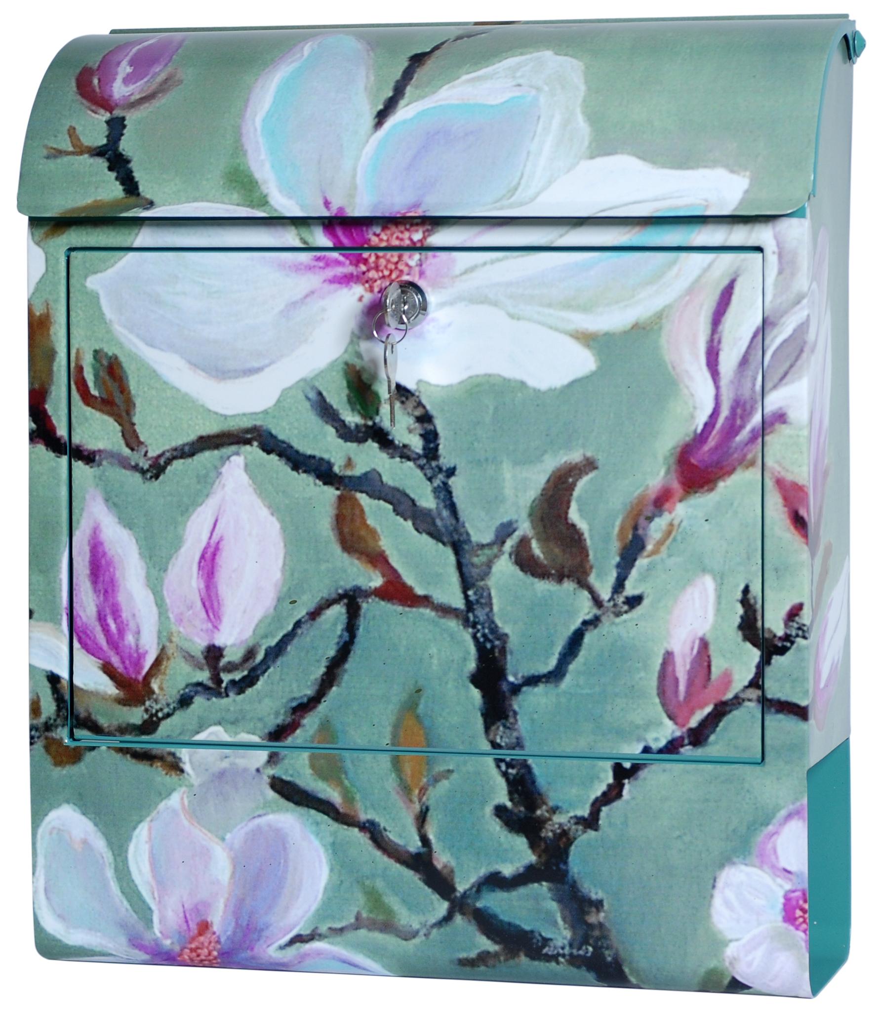 exklusiver design briefkasten mit zeitungsrolle stahlblech mit motiv magnolie handarbeit. Black Bedroom Furniture Sets. Home Design Ideas