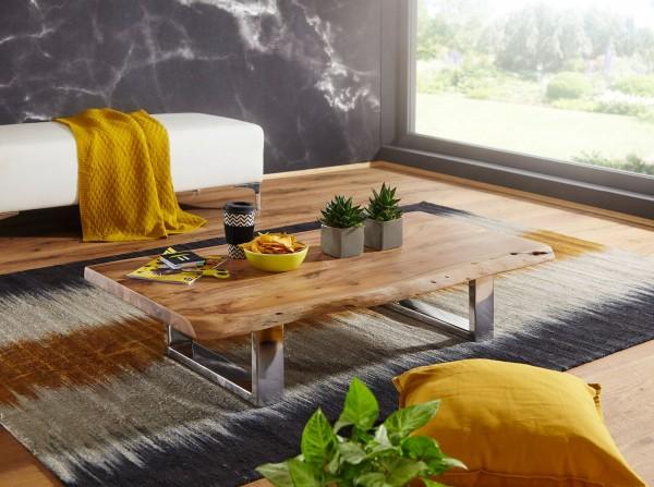 Design Couchtisch 115x25x58 cm, Akazie Massivholz, Metallgestell, Baumstamm-Optik, Wohnzimmertisch Braun, Moderner Landhaus-Stil