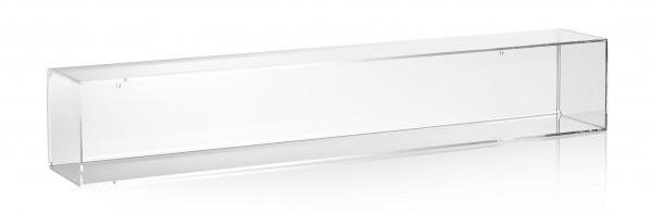 Hochwertiges Acryl-Glas Wandregal / Wandboard mit Rückwand, transparent, B101 x T14 cm, H 14 cm, Acryl-Glas-Stärke 4 mm