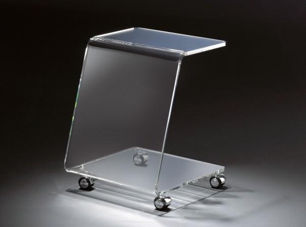 Hochwertiger Acryl-Glas Beistelltisch mit Chromrollen, klar, 37 x 37 cm, H 48 cmAcryl-Glas-Stärke 12 mm