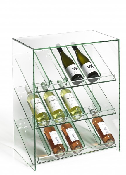 Glas Weinregal, hochwertige Handarbeit, L60 x B35 x H75 cm, Glasstärke 8 mm