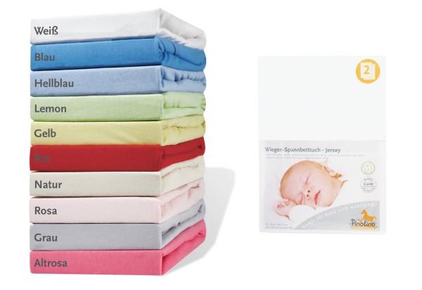 Pinolino Spannbetttücher für Wiegen, Anstellbettchen und Kinderwagen 2 Stück, aus 100% Baumwolle, passend für Matratzen von L 70 x B 40 cm bis L 90 x B 55 cm
