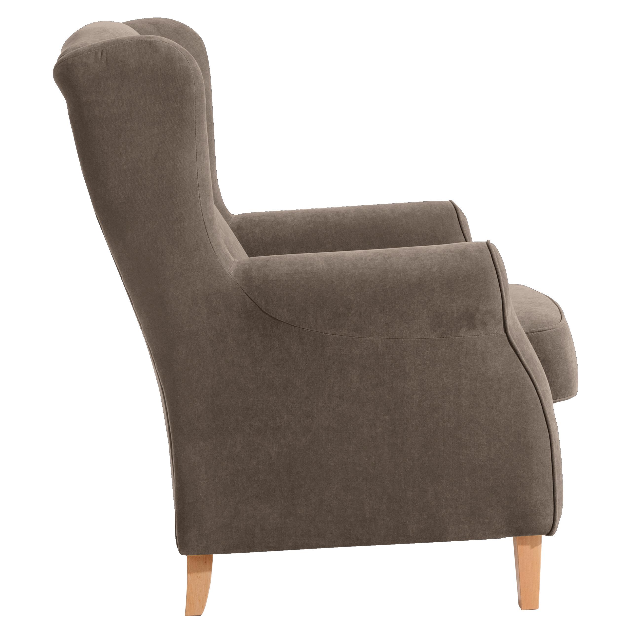 ohrenbackensessel einzelsessel mit dazu passendem hocker weiches flachgewebe in 12 farben. Black Bedroom Furniture Sets. Home Design Ideas