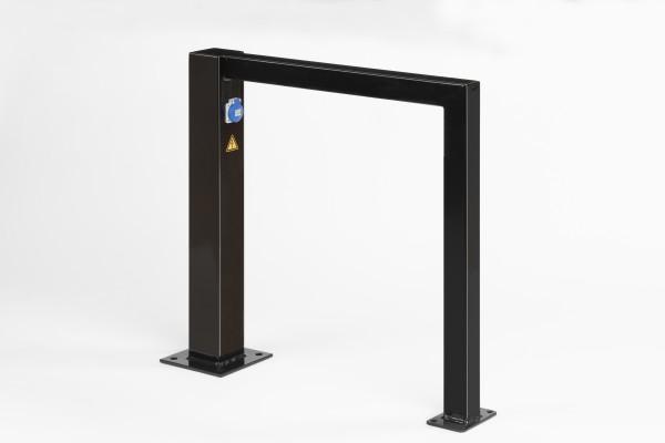 E-Bike-Ständer / Anlehnbügel / Ladestation für E-Fahrräder, aus Stahl, feuerverzinkt und schwarz pulverbeschichtet, Länge 80 cm, Höhe 80 cm
