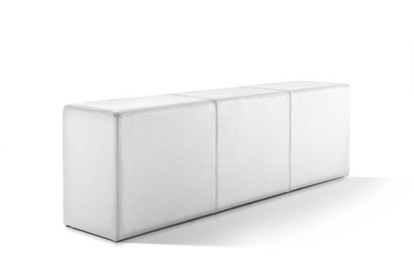 Pomp Bank, echtes Leder, schneeweiß, B = 150 cm, T = 33 cm, H = 47,5 cm, Sitzbank in Stuhlhöhe mit komfortabler Polsterung