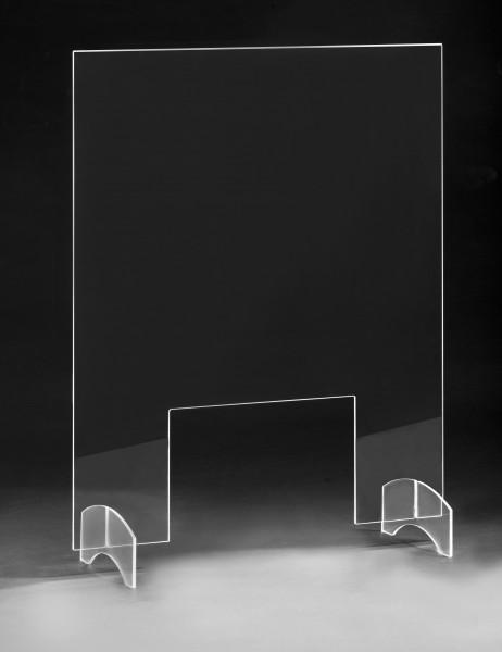 Hochwertiger Thekenaufsatz/Tischaufsatz als Corona-Schutzscheibe / Spuckschutz / Hustenschutz / Virenschutz aus Acrylglas, extra stabil 5 mm stark mit Durchreiche