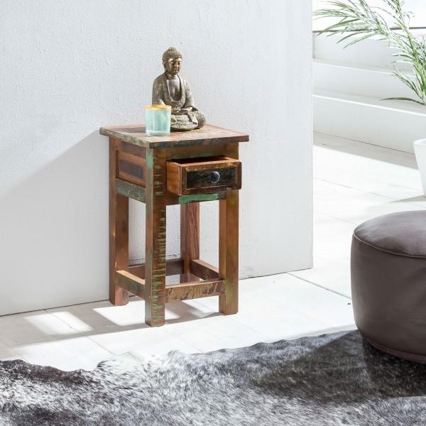 Massivholz Beistelltisch 30x30x50 cm, Shabby-Chic, Nachtkonsole mit Schublade, Anstelltisch