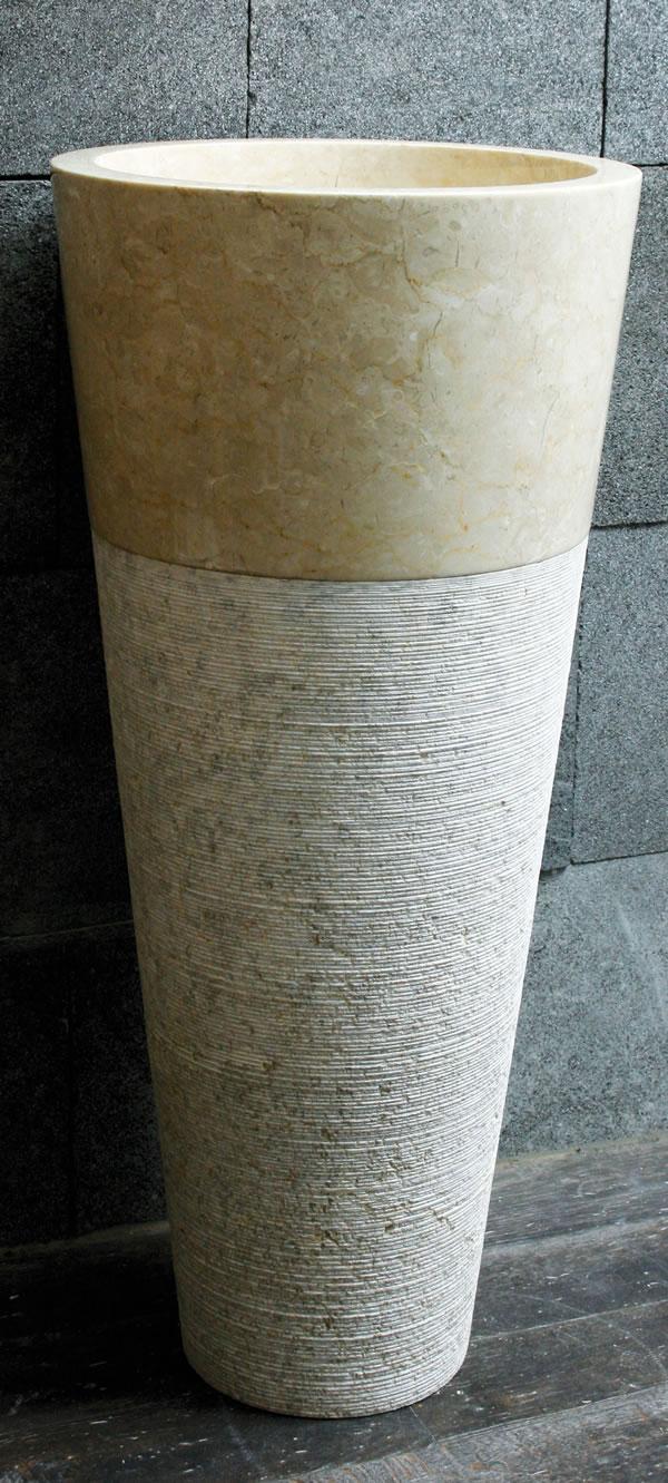 Waschtischsäule / Waschbecken, 2-teilig, aus Marmor, Ø40 x H90 cm