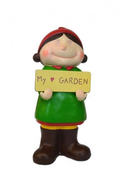 "Gartenzwerg ""Evi"", grün, aus hochwertigem Polyresin"