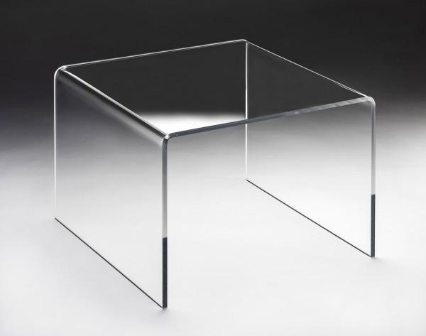 Hochwertiger Acryl-Glas Couchtisch, ideal für Wohnlandschaften, transparent, quadratisch, B 57 x T 57 cm, H 42 cm, Acryl-Glas-Stärke 12 mm