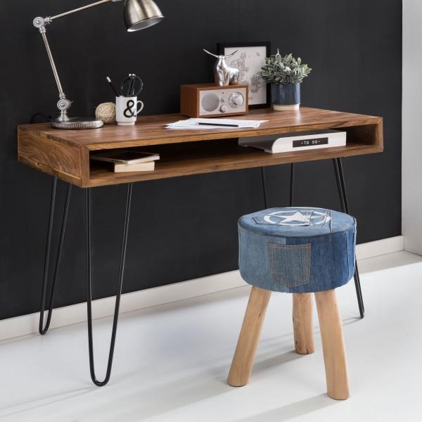 Schreibtisch, braun, 110 x 60 x 76 cm, Massivholz, Laptoptisch, Sheesham Natur, Landhaus-Stil, Arbeitstisch mit 1 Ablage-fach