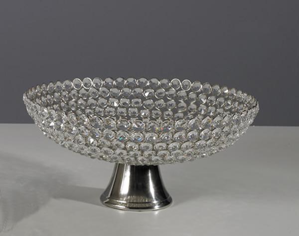 Schale aus Aluminium, vernickelt, mit Kristall-Verzierung, Ø 30 x H 15 cm