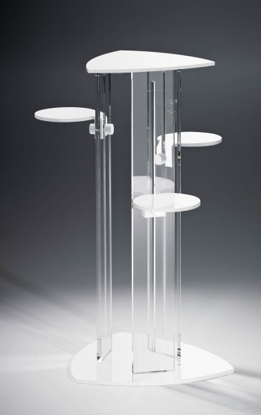 Hochwertige Acryl-Glas Blumensäule mit 4 Ablageflächen, Ablagen und Standfuß weiß, Säulen klar, 40 x 40 cm, H 92 cm, Acryl-Glas-Stärke 8 / 10 mm