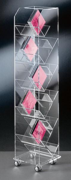 Hochwertiger Acryl-Glas CD DVD Ständer / CD DVD Regal, mit 4 Chromrollen, klar, 33 x 33 cm, H 115 cm, Acryl-Glas-Stärke 10 / 6 / 4 mm