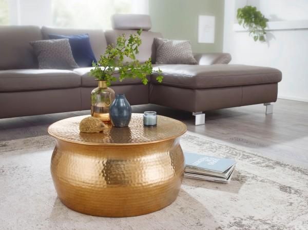 Design Couchtisch 60x30,5x60 cm, Aluminium Wohnzimmertisch Orientalisch rund, Flacher Hammerschlag, Metall Sofatisch, Beistelltisch