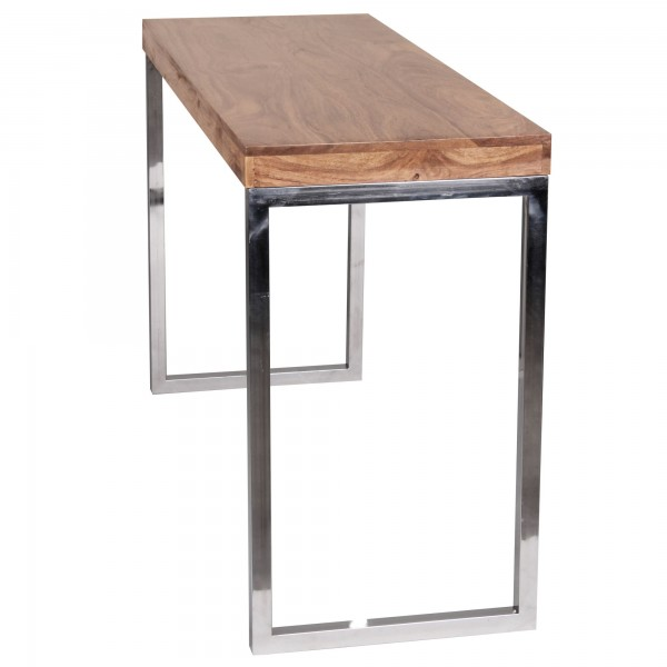 Konsolentisch Massivholz Akazie, Konsole mit Metallbeinen, Schreibtisch Landhaus-Stil Sideboard