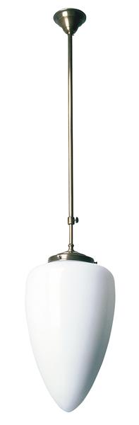 Deckenleuchte / Flurleuchte, Bauhaus Stil, Messing antik-handpatiniert (Altmessing), Höhe mit Glas 90 cm, Ø 24 cm, 230 V, E27 60 W