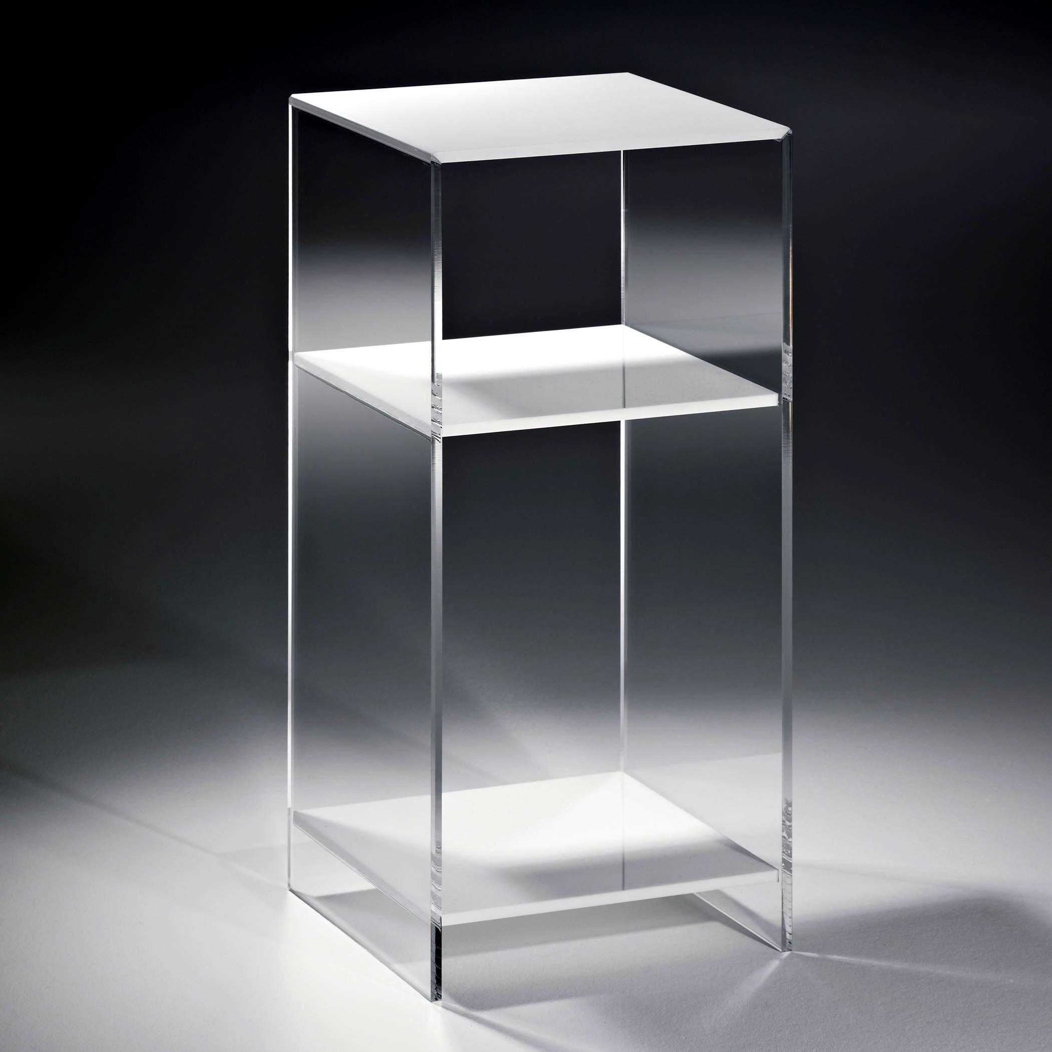 Hochwertiges acryl glas standregal konsole mit 2 f chern regalb den wei s - Console transparente design ...