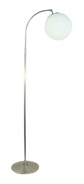 Stehleuchte / Standleuchte, moderner Stil, Messing matt vernickelt, Höhe 130 cm bis 155 cm einstellbar, 230 V, E27 60 W
