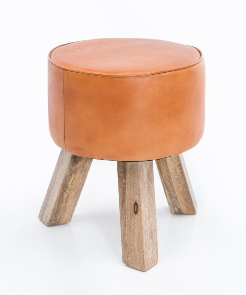 Design Sitzhocker Holz, Modern, Fußhocker Rund, Turnbock Lederhocker, Holzbeine, Kleiner Hocker Massivholz mit Leder Gepolstert , Holzhocker mit Echtleder Braun