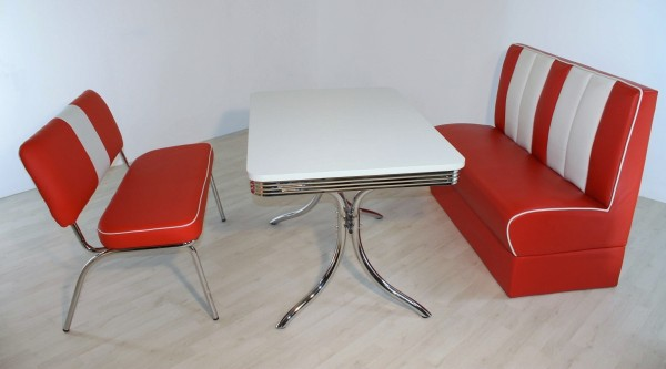 """Bankgruppe """"Miami"""", American Diner Style; Vierfuß Bistrotisch, 1 Bistrobank und 1 Bistropolsterbank; Bezug: rot/weiß; Tischplatte polarweiß"""