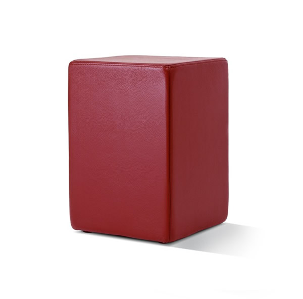 Pomp Lederhocker, echtes Leder, bordeaux, B = 33 cm, T = 33 cm, H = 47,5 cm, in Stuhlhöhe mit komfortabler Polsterung