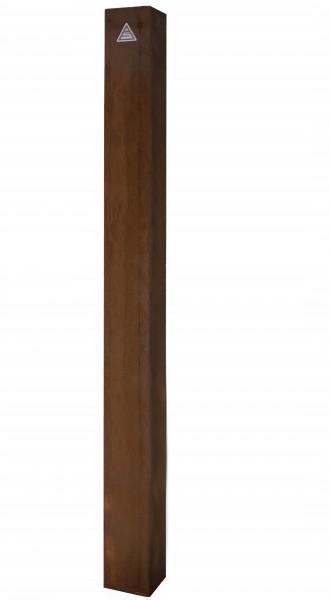 Absperrpfosten / Stilpoller aus Cortenstahl, ortsfest, zum Einbetonieren, aus Stahlrohr 80 x 80 mm, Oberfläche optisch vorgerostet, Überflurlänge 900 mm