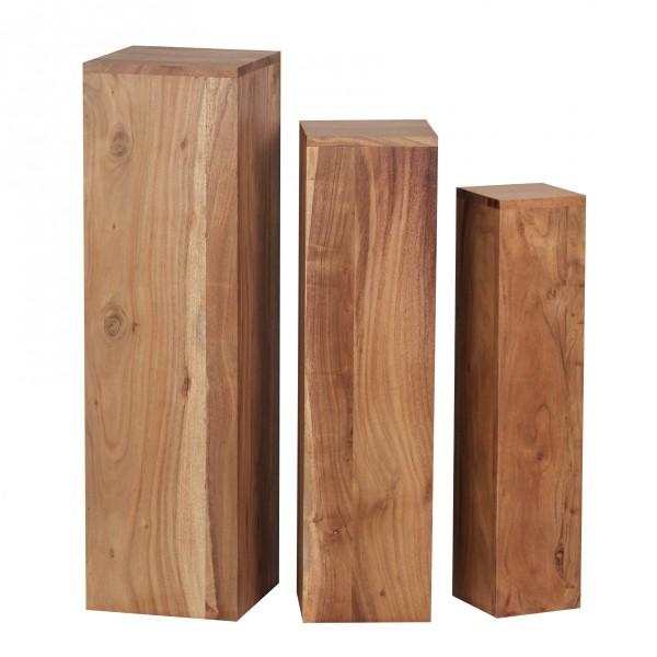 Beistelltisch 3er Set Massivholz, Tische, Holztisch Natur-Produkt, Echtholz Beistelltische Dekosäulen, Drei Holztische Braun, Blumenhocker Holz Modern
