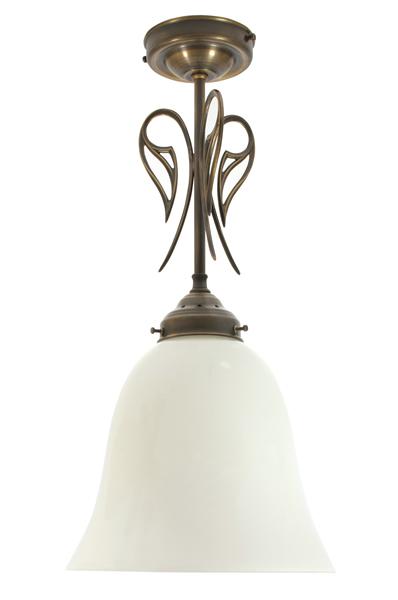Deckenleuchte / Hängelampe, Messing antik-handpatiniert (Altmessing), Höhe 27 cm ohne Glas, 230 V, E27 60 W