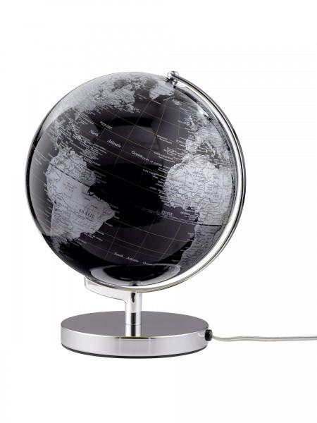 Moderner Leuchtglobus / Weltkugel, aus Metall, silber und Kunststoff, Ø24 x H32 cm