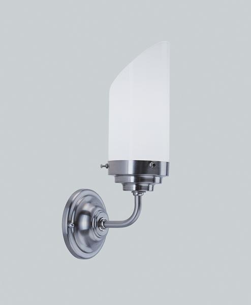 Wandleuchte, Messing Nickel matt, Glas weiß glänzend, Ausladung 14 cm, 230 V, 1 x E27 40 W