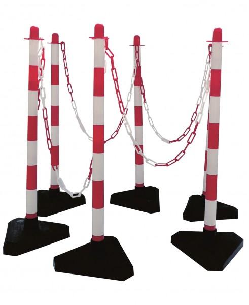 Kettenständerset 6 Ständer + Zubehör), aus Kunststoff, 2 Farben, mit 2 Ösen, mit dreieckiger 3 kg Fußplatte aufzustellen, Ø 40 mm, Höhe 900 mm