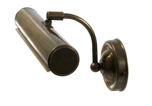 Bilderwandleuchte, Messing antik-handpatiniert (Altmessing), Wandabstand 19 cm, Breite 29,5 cm, 2 x 230 V, E14 40 W