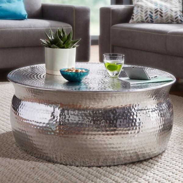 Design Couchtisch 75x31x75 cm, Aluminium Silber, Beistelltisch Orientalisch rund, Flacher Hammerschlag, Metall Sofatisch