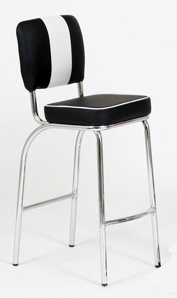"""Bistrohocker / Barhocker """"Louisiana"""", 4-teiliges Set, Retro / 50er-Jahre, Gestell Stahlrohr verchromt, Bezug 100% Polyester in Lederoptik, rot/weiß oder schwarz/weiß, Sitzmaße: H74,5 x T38 x B38 cm"""