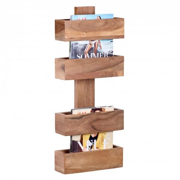 Zeitungsständer Massivholz | 4 Ablagefächer | Zeitschriften-Ständer Design | Prospekt-Halter Landhausstil