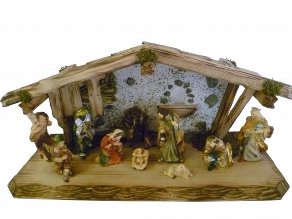 """Weihnachtskrippe / Stall """"Allgäu"""", aus Holz handgefertigt in Deutschland, dekoriert mit getrocktnetem Waldmoos und Holz, inkl. Figurenset, in 2 Größen erhältlich"""