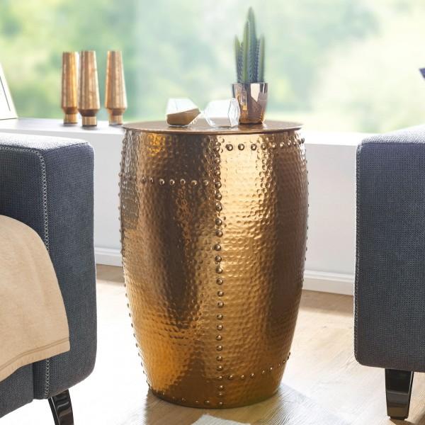 Design Beistelltisch 41,5x62x41,5cm, Aluminium Gold, Dekotisch Orientalisch rund, Kleiner Hammerschlag, Anstelltisch schmal