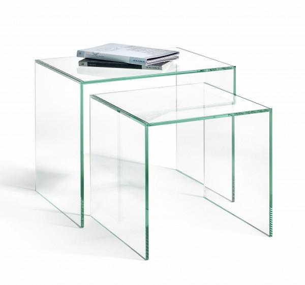 Zweisatztisch aus Glas, hochwertige Handarbeit, 1. L30 x B30 x H30 cm, 2. L40 x B30 x H35 cm, Glasstärke 8 mm