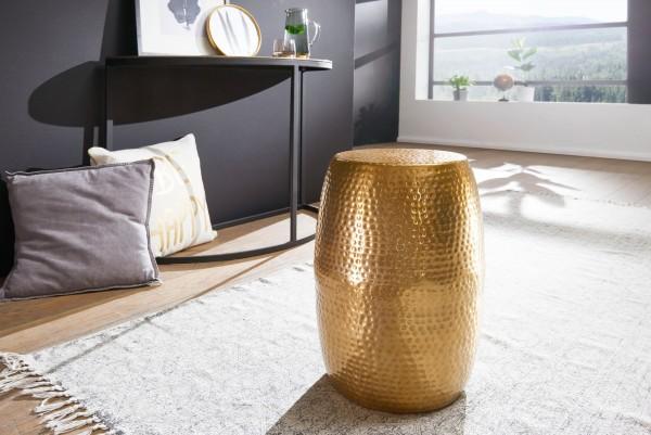 Design Beistelltisch 30x49,5x30 cm, Aluminium Gold, Dekotisch Orientalisch rund, Kleiner Hammerschlag, Abstelltisch schmal