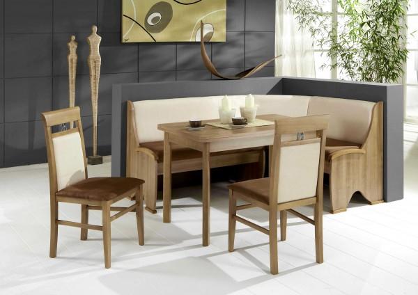 Truhen-Eckbankgruppe, Noce Dekor; Eckbank, 2 Stühle und Tisch mit Auszügen und Rundecken; Bezug:Mikrofaser Kombi braun vanille; variabel aufbaubar